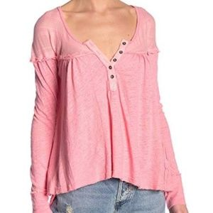NWT FREE PEOPLE DOWN UNDER HENLEY SUGAR CORAL
